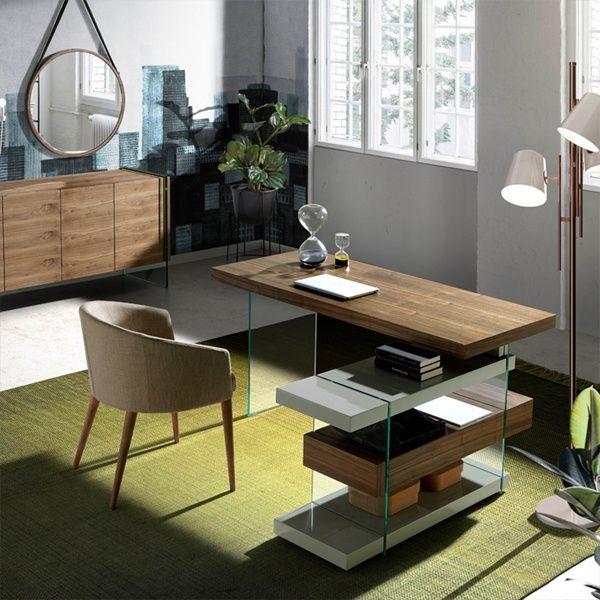 Mesa escritorio en Madera Chapada Nogal y Cristal