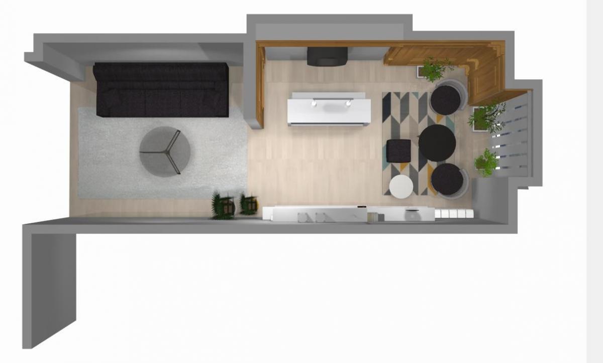 Proyecto de una vivienda: recibidor, salón y sala anexa